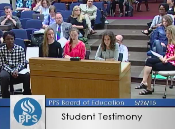 Students at Evanston voiced their concerns at a school board meeting (photo found  here ).