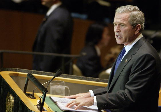President George W. Bush addressing the U.N. in 2004 (Public Domain image found  here )